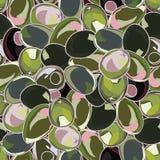 Безшовная предпосылка с оливками Стоковое Изображение RF