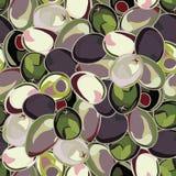 Безшовная предпосылка с оливками Стоковая Фотография