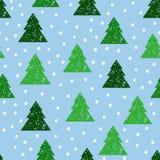 Безшовная предпосылка с печатями деревьев, снег Стоковая Фотография RF