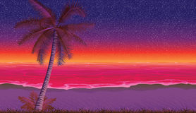 Безшовная предпосылка с побережьем, океаном, ладонью Песчаный пляж на заходе солнца Стоковые Фото