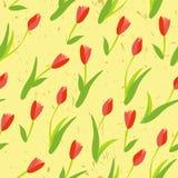 Безшовная предпосылка с покрашенными тюльпанами. иллюстрация вектора