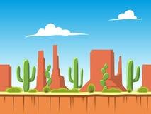 Безшовная предпосылка с почвой, кустами, горами и слоями облачного неба Стоковая Фотография RF