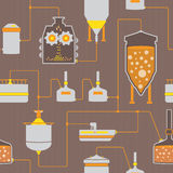 Безшовная предпосылка с процессом заваривать пива Стоковое Изображение RF