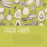 Безшовная предпосылка с плодоовощами, которая идеальна для индустрии и рынков ресторана Стоковое Фото