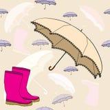 Безшовная предпосылка с резиновыми ботинками и зонтиком Стоковая Фотография RF
