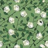Безшовная предпосылка с розами и листьями Стоковое Изображение