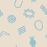 Безшовная предпосылка с символами австралийского аборигенного искусства Стоковое Фото
