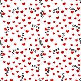 Безшовная предпосылка с словами и сердцами влюбленности Стоковая Фотография