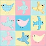 Безшовная предпосылка с тканью птиц Стоковые Изображения RF
