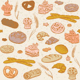 Безшовная предпосылка с хлебом и печеньем Бесплатная Иллюстрация