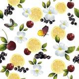 Безшовная предпосылка с цветками и плодоовощами Стоковое Изображение