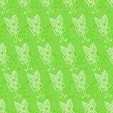 Безшовная предпосылка с цветками на зеленой предпосылке Стоковая Фотография RF