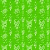 Безшовная предпосылка с цветками на зеленой предпосылке Стоковые Изображения RF