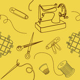 Безшовная предпосылка с шить элементами Стоковое Изображение RF