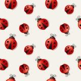 Безшовная предпосылка с ladybugs также вектор иллюстрации притяжки corel Стоковая Фотография