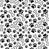 Безшовная предпосылка - pet печать и косточка лапки иллюстрация вектора