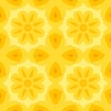 Безшовная простая текстура с желтым цветком и стилизованными оранжевыми листьями Стоковое фото RF