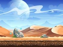 Безшовная пустыня с камнями и космическими кораблями Стоковые Изображения