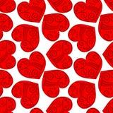 Безшовная племенная красная предпосылка сердец Стоковое Изображение