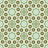 Безшовная плитка с зелеными и коричневыми жемчугами и белой кружевной картиной Стоковые Изображения RF
