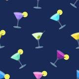 Безшовная плоская картина с стеклами коктеиля Стоковая Фотография RF