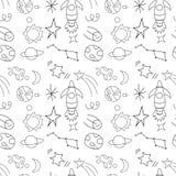 Безшовная ракета космоса ` s детей картины повторения, космос, планеты, звезды на белой предпосылке, иллюстрации вектора Стоковые Фотографии RF