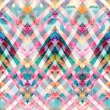 Безшовная ретро геометрическая картина с линиями зигзага стоковое фото rf