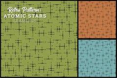 Безшовная ретро картина звезды в 3 винтажных вариантах цвета иллюстрация вектора