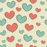 Безшовная ретро картина с сердцами Стоковое фото RF