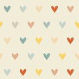 Безшовная ретро картина с сердцами Стоковая Фотография RF