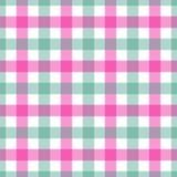 Безшовная розовая и зеленая покрашенная checkered предпосылка ткани таблицы Стоковое фото RF