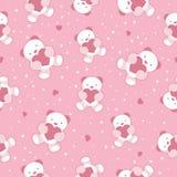 Безшовная розовая предпосылка младенца с плюшевым медвежонком и  Стоковые Фотографии RF
