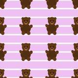 Безшовная розовая скороговорка плюшевого медвежонка Стоковое Изображение RF