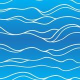 Безшовная рука волны покрасила картину в голубых цветах Иллюстрация штока