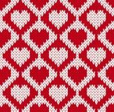 Безшовная связанная картина с сердцами Стоковое Изображение