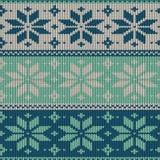 Безшовная связанная картина с снежинками Стоковая Фотография RF