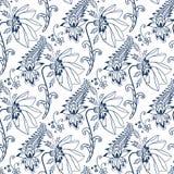 Безшовная современная флористическая голубая восточная картина Стоковые Изображения RF