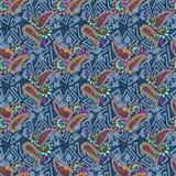 Безшовная старая картина батика орнамента в уникально составе иллюстрация штока