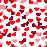 Безшовная стильная красная картина с сердцами Стоковая Фотография RF