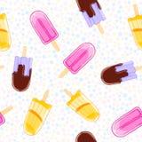 Безшовная сладостная картина с popsicles в стиле шаржа на предпосылке точки польки Стоковое фото RF