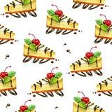 Безшовная сладостная предпосылка Картина с чизкейком изображение иллюстрации летания клюва декоративное своя бумажная акварель ла бесплатная иллюстрация