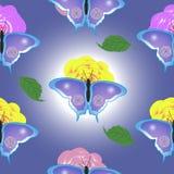 Безшовная текстура бабочки и цветка Стоковая Фотография