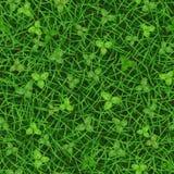 Безшовная текстура вектора зеленой травы с клевером выходит Стоковые Изображения