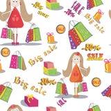Безшовная текстура девушки с сумками покупок Справочная информация большое сбывание Стоковое Изображение