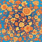 Безшовная текстура лета с цветками и лист бесплатная иллюстрация