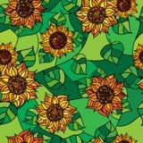 Безшовная текстура желтого flowers_01 Стоковые Изображения RF