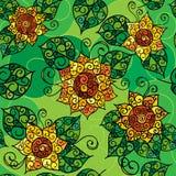Безшовная текстура желтого flowers_02 Стоковое Изображение RF