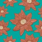 Безшовная текстура лилии воды цветков на предпосылке бирюзы ретро Стоковые Изображения