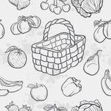 Безшовная текстура и овощи, плодоовощ и корзины иллюстрация штока