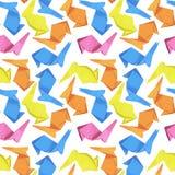 Безшовная текстура, картина origami зайчика пасхи бумаги, на покрашенной предпосылке стоковое изображение rf